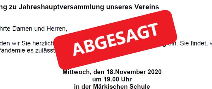 Aktuelle Info: Jahreshauptversammlung 2020 abgesagt!